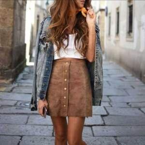 Hollister Brown Suede Button Skirt